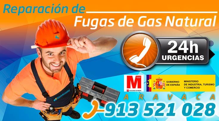 reparación de fugas de gas natural en Aravaca